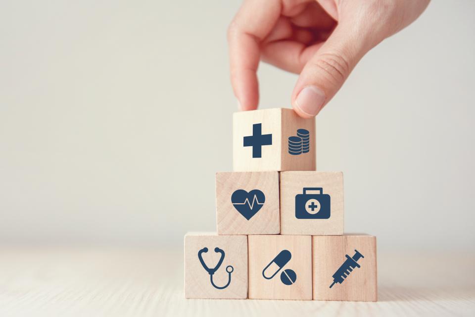 Blocks with health symbols
