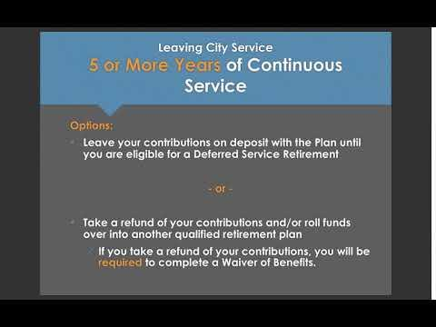 Leaving City Service Prior to Retiring